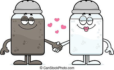 Cartoon Salt and Pepper Holding Hands - A cartoon...
