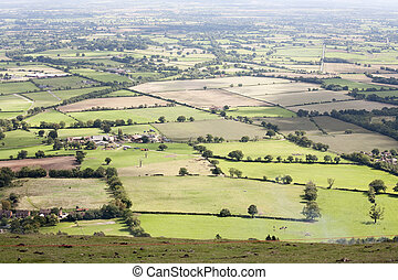 farm land - aerial view of English countryside in summer