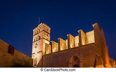 Ibiza Cathedral at night