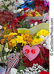 Liverpool, UK, April 15 2014 - Flowers laid to commemorate...