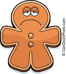 Sad Cartoon Gingerbread Man - A cartoon illustration of a...