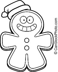 Christmas Cartoon Gingerbread Man - A cartoon illustration...