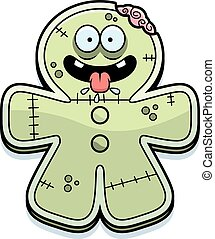 Hungry Cartoon Gingerbread Zombie - A cartoon illustration...