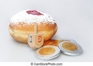 Hanukkah doughnut and spinning top - Traditional jewish...