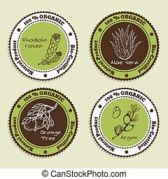 Set of Natural Organic Product badges Labels for Essential...