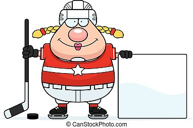 Cartoon Hockey Player Sign - A cartoon illustration of a...
