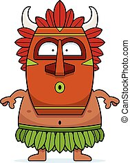 Surprised Cartoon Witch Doctor - A cartoon illustration of a...