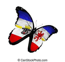 Mecklenburg-Western Pomerania flag butterfly, isolated on...