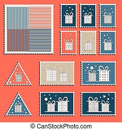 Large set of colorful CHristmas postage stamps. Vintage New...