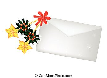 Golden Stars and Christmas Holly with A Letter