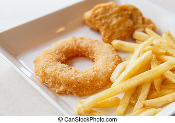 Shrimp fried donuts and french fries