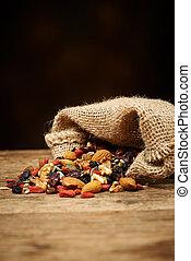 mezcla, nueces, semillas, y, seco, frutas, en, Un, de...