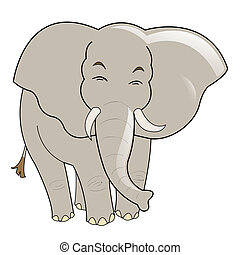 Baby elephant vector, isolated on white