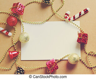 Christmas holiday background with blank greeting card and Christ