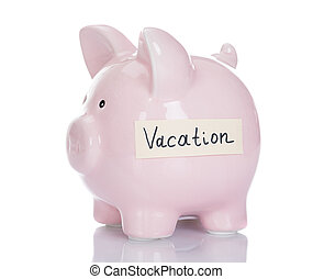 Piggybank With Vacation Label - Piggybank with vacation...