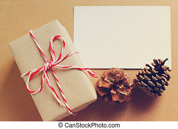 Handmade gift box and blank note paper with pine cone, retro...