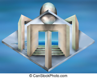 Impossible art deco structure - Original illustration of an...