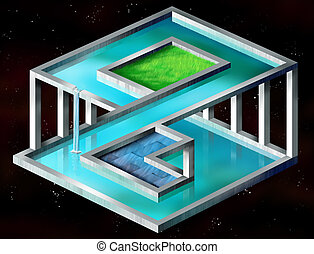 Impossible structure - Original illustration of an...