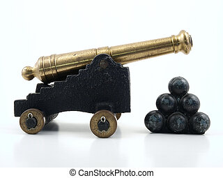 Cannon with Balls - Vintage metal toy cannon with big balls.