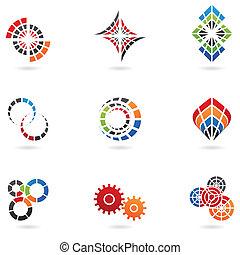 cog icons (set of 9) isolated on white, illustration,