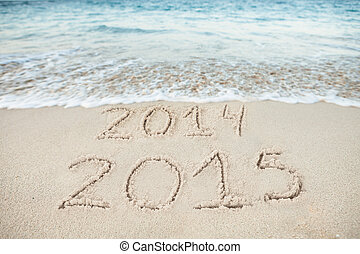 Surf Rushing Towards 2014 And 2015 Drawn On Sand - Surf...