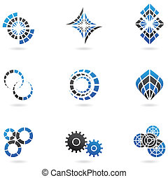 Blue cog icons set of 9 isolated on a white background