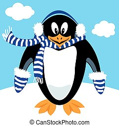 Cartoon penguin winter gear - Funny penguin cartoon with...