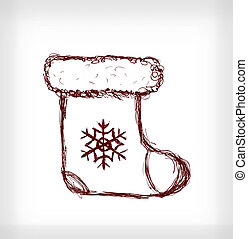 Santa boot with snowflake Hand drawn illustration on light...
