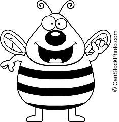 Cartoon Bee Waving - A cartoon illustration of a bee waving...