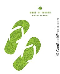 Vector abstract green and white circles flip flops...