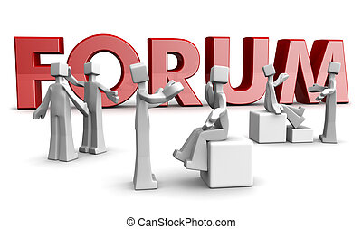 Forum Discussion Concept - Group of 3d man having discussion...