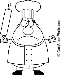 Angry Chef - A cartoon chef frowning and looking angry.