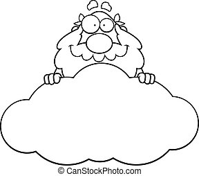Cartoon God Cloud - A cartoon illustration of a Greek god in...