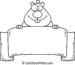 Cartoon Hamster Banner - A cartoon illustration of a hamster...