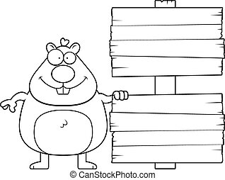 Cartoon Hamster Sign - A cartoon illustration of a hamster...