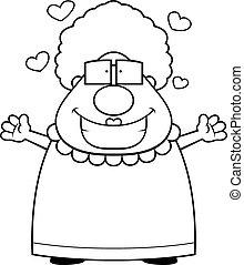Grandma Hug - A happy cartoon grandma ready to give a hug.