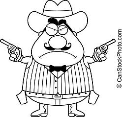 Angry Cartoon Gunfighter - A cartoon illustration of a...