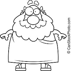 Greek Philosopher Smiling - A happy cartoon Greek...