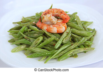 Asian vegetable dish, of long beans with prawns