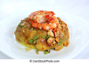 Asian fried rice - Asian fried seafood rice with big prawns