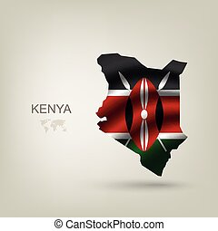 Flag of Kenya as a country with a shadow