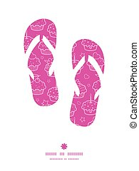 Vector colorful cupcake party flip flops silhouettes pattern frame