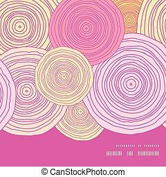 Vector doodle circle texture horizontal frame seamless...