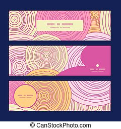 Vector doodle circle texture horizontal banners set pattern background