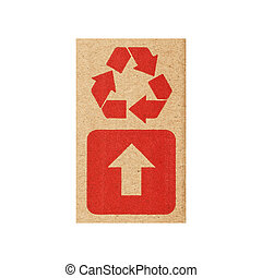 Fragile symbol on cardboard