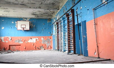 old sports hall at school with a basketball - basketball and...