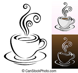 coffee cups icons in different colours & styles,...