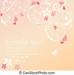 Floral card with hearts
