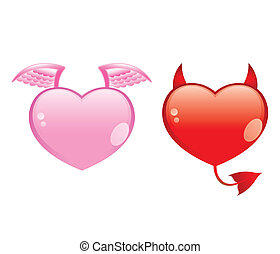 angel and devil hearts, good and evil love