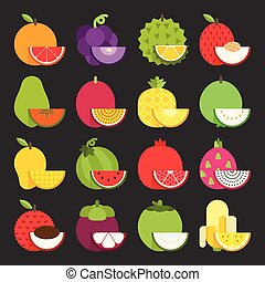 Tropical fruit icon set, vector